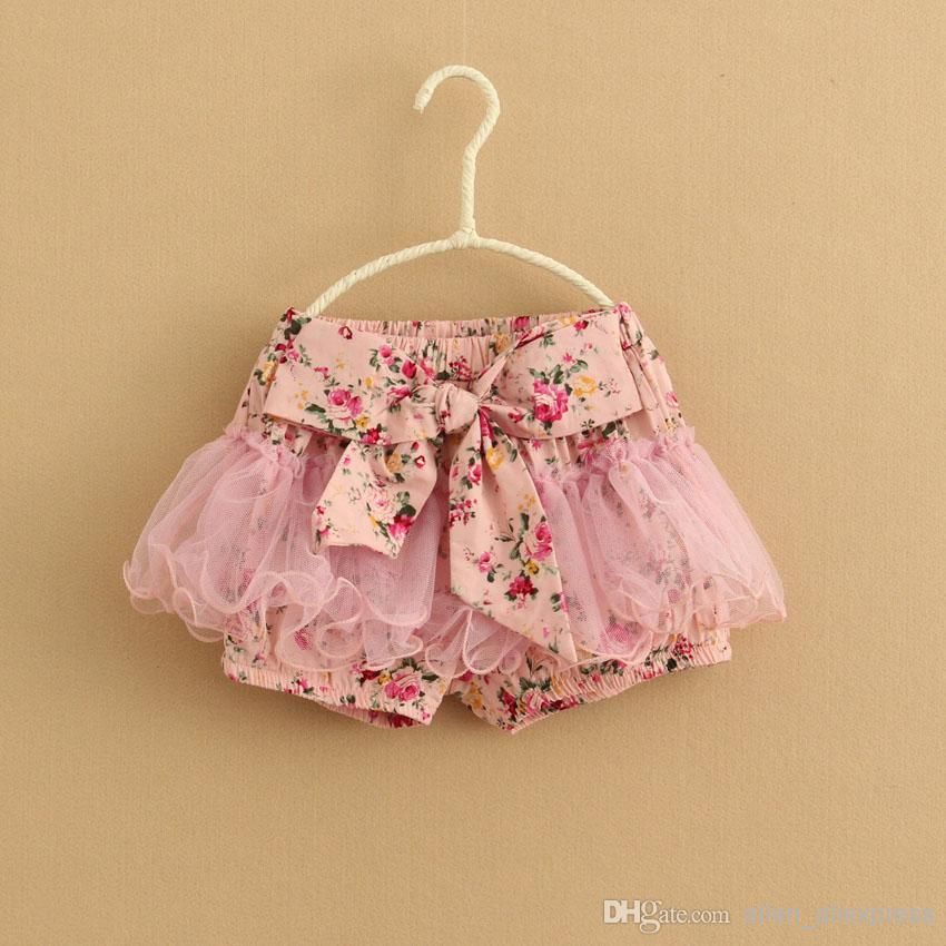 Baby Girl Ruffled Waist Floral Lace Pants