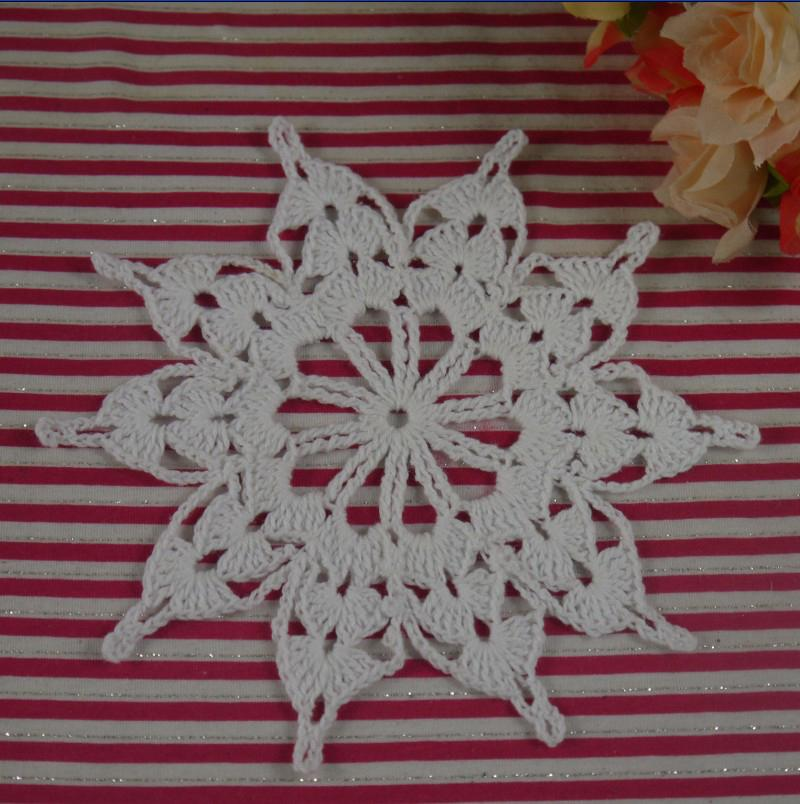 EMS Wholesale Handmade Crochet Doily Placemats cup Pad mat Snowflake coasters round Dial