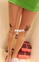 Wholesale Tattoo Nylon Leggings - Wholesale -Machine Gun Tattoo Socks Pattern Transparent Pantyhose Stockings Tights Leggings#G681