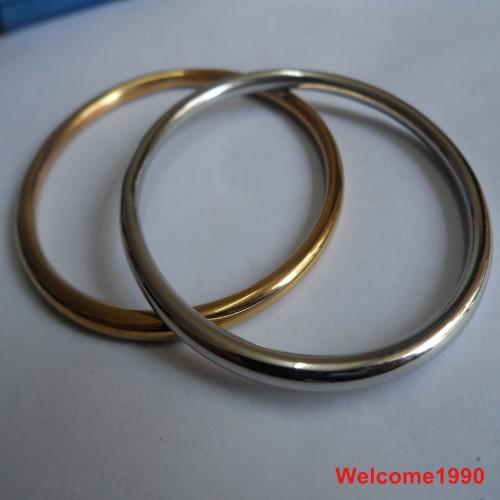 送料無料1ピースシルバー/ゴールドトップセールソリッドブレスレットステンレススチールジュエリー4mmバングルボーイズ/女性60mm