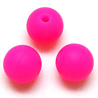 Wholesale 14mm Acrylic Plastic Beads - 14mm Rubber Round Silicone Beads Perle Silicon Beads BPA Free Round Food Grade Baby Teething