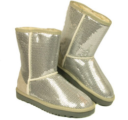 Wholesale Green Sequin Shoes - dorp SHIPPING 2014 New Women Fashion glitter sequins Snow Boots BOOT Winter Shoes Black Blue purple golden Silver 6colors
