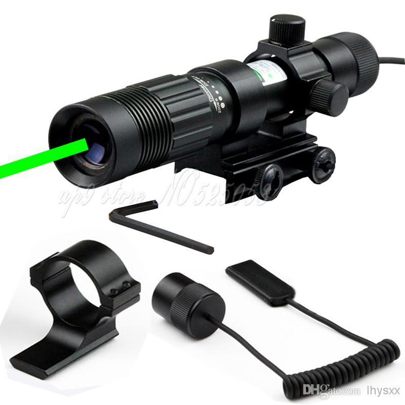 Tactical Hunting Adjustable Green Laser Flashlight Pointer