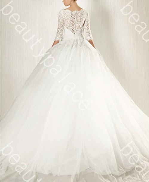 Mejor venta de Bateau Ball Bateau piso longitud blanco Organza 3 4 manga de encaje vestido de novia 2014 envío gratis Batas de diseñador sexy