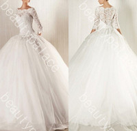 Wholesale Best Wedding Gown Designers - Best Selling Ball Gown Bateau Floor Length White Organza 3 4 Lace Sleeve Wedding Dress 2014 Free Shipping Sexy Designer Wedding Gowns