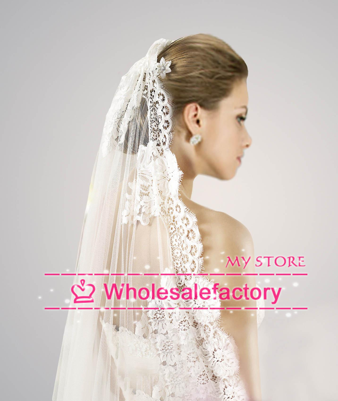Custom-made White 2014 Wedding Veil Cathedral Train Thick
