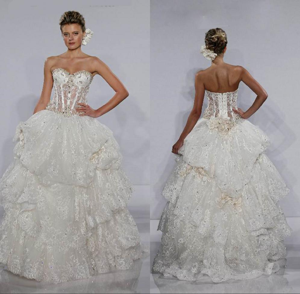 Fashion Bridal Ball Gown Sweetheart Beaded Lace Bones See Through ...