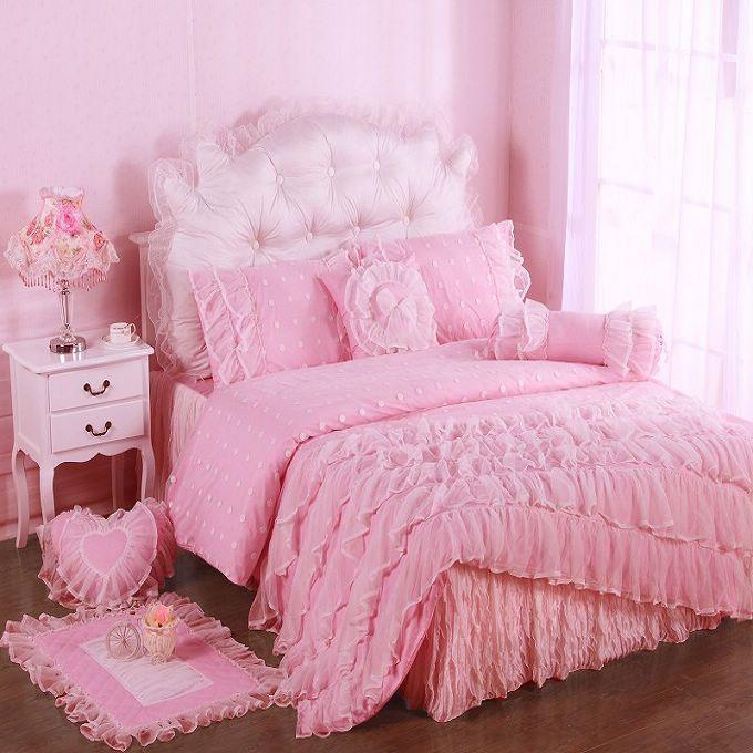 Gentle Woman Pink Cotton Satin Princess Lace Girl Duvet