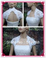ingrosso cappello di scialle-2019 Custom Made di alta qualità Cap Sleeve White Scialli da sposa Bolero Lace Wedding Jackets / wrap