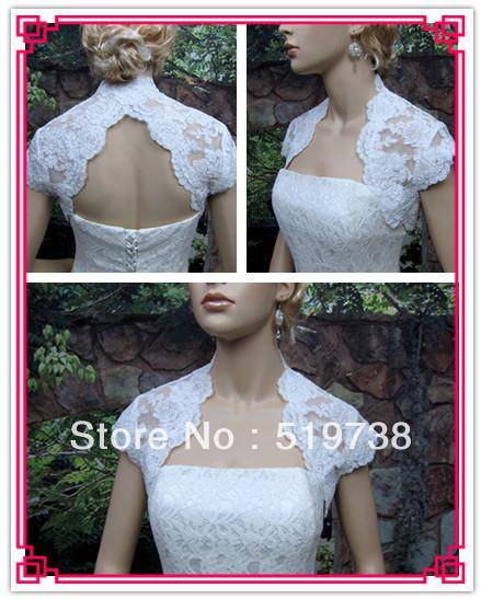 top popular 2019 Custom Made High Quality Cap Sleeve White Bridal Shawls Bolero Lace Wedding Jackets   wrap 2021