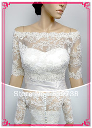 Wholesale Off Shoulder Wedding Bolero - Custom Made NEW White Ivory Applique Off the Shoulder Wedding Shrug Jacket Lace Tulle Bridal Bolero