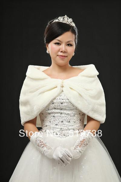 Warm Winter Coat Wraps Ivory Faux Fur Wedding Bolero Jacket
