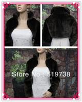 fourrures de boléro achat en gros de-Tissu de fausse fourrure mariage blanc noir châle wraps cape de mariée