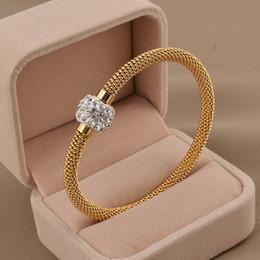 Wholesale Silver Rhinestone Bar Bracelet - 316L titanium steel silver gold rose gold cable wire bracelet vintage full crystal rhinestone magnetic ball clasp women bangle SB0156