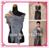 Wholesale Evening Detailing - Free Shipping Terylene Evening Office Wrap Shawl With Flower Detail (More Colors) Women's Jackets