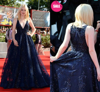 Wholesale Elie Saab Dresses Blue - Elie Saab High Quality Navy Blue V-Neck A-Line Organza Applique Lace Prom Evening Dresses Beaded Crystal Party Celebrity Dress Free Shipping