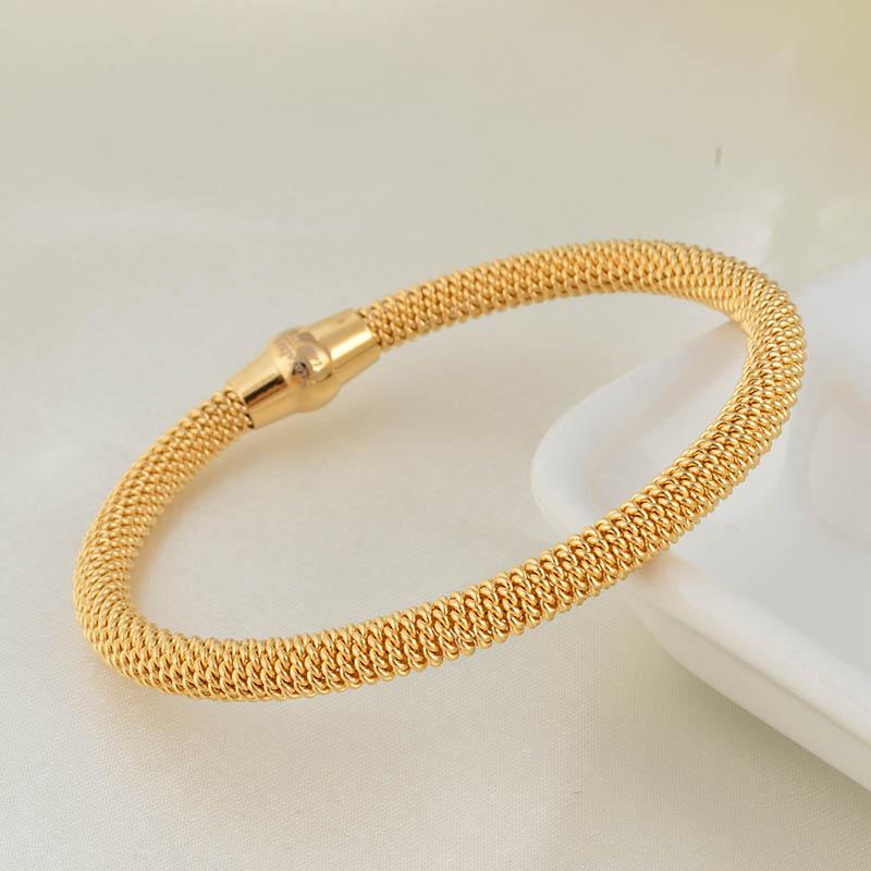 gold product magnet vintage signed tone with shining cable bangles schofer bracelet clasp bangle