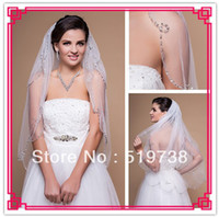 Wholesale Scalloped Ivory Veil - 2014Two-tier Fingertip Wedding Veil With Beaded Scalloped Edge Beaded Veil