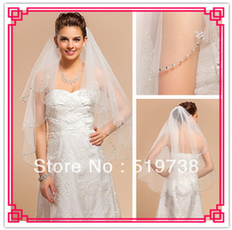 Wholesale Wedding Veil Tier Beaded - 2014Two-tier Fingertip Wedding Veil With Beaded Applique Edge Bling Wedding Hair