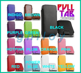 Wholesale Pull Leather - 13 colors pull tab leather pouch gorgeous case for iphone 5 G 4 S and Samsung Galaxy S4 S3 note2 3