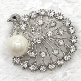 $enCountryForm.capitalKeyWord Canada - Wholesale C930 Multicolor Crystal Rhinestone Faux Pearl Peacock Brooch Fashion Costume Brooches Pin Jewelry gift