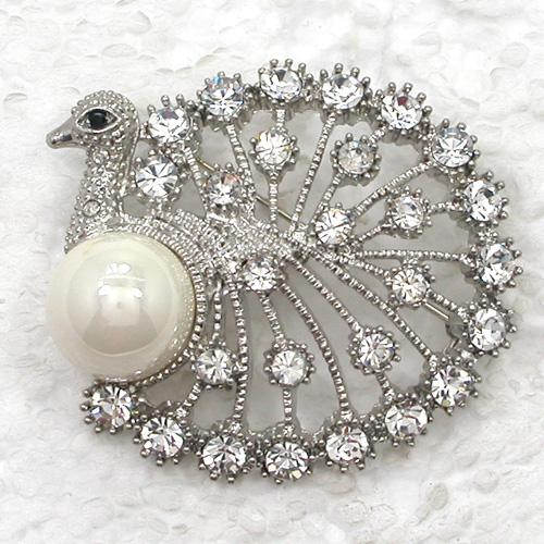 Wholesale C930 Multicolor Crystal Rhinestone Faux Pearl Peacock Brooch Fashion Costume Brooches Pin Jewelry gift