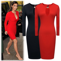 Wholesale Ladies Office Dresses L - Women OL Elegant Long Sleeve Dress Office Lady Sexy Slim Casual dresses Round Neck Mini clothes Kim Kardashian dress style Free Shipping