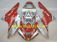 yamaha yzf r1 carenados personalizados al por mayor-Kit de carenado de motocicleta personalizado para YAMAHA YZFR1 00 01 YZF R1 2000 2001 YZF1000 ABS Nuevo conjunto de carenados de plata roja + Regalos YD05