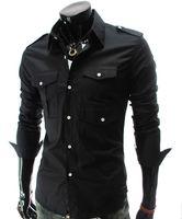 Wholesale Shirts Muscle Fit - Men's Fashion Luxury Stylish Casual shoulder board Designer Dress Shirt Muscle Fit Shirts 5017