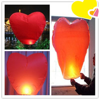 Wholesale Chinese Lanterns Wholesale Heart Shaped - Heart Shaped Sky Lanterns Wishing Lantern Fire Balloon Colorful Chinese Kongming Lantern Wishing Lamp