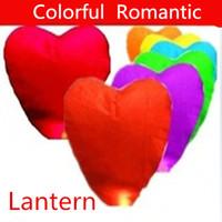 Wholesale Heart Chinese Wish - Romantic Heart Shaped Chinese Sky Flying Lanterns Wishing Lantern Fire Balloon Colorful Chinese Kongming Lantern Wishing Lamp 100pcs lot