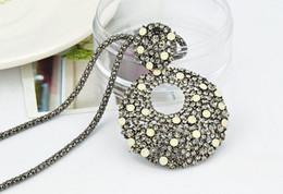 Wholesale Hoop Pendant Necklace - Fashion European Style Gun Black Alloy Long Chain Rhinestone Crcle Hoop Pendant Necklaces 12pcs lot