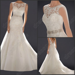 $enCountryForm.capitalKeyWord Australia - Brand New jewel neck tulle with lace applique and beadings with bow mermaid bride's wedding dresses zipper and buttons back