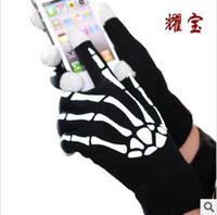 Wholesale Skeleton Touch Screen Gloves - Hot Christmas winter warm luminous touch screen gloves with hand Skeleton glow in the dark capacitive touch screens for mobile phone ipad