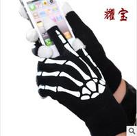 guantes esqueleto de pantalla táctil al por mayor-Los guantes calientes de la pantalla táctil del invierno caliente de la Navidad caliente con mano resplandor esquelético en las pantallas táctiles capacitivas oscuras para el ipad del teléfono móvil