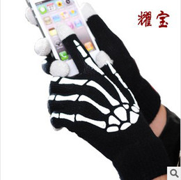 Wholesale Winter Skeleton Gloves - Hot Christmas winter warm luminous touch screen gloves with hand Skeleton glow in the dark capacitive touch screens for mobile phone ipad