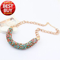 Wholesale Women Designers Bead Necklace - 2013 New Classic Designer Chain Bohemia Bead Vintage Gold Choker Collar Statement Bib Neon Necklace Fashion Jewelry For Women 08