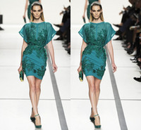 Wholesale Elie Saab Flower Dress - 2017 elie saab Short Prom Dress Sheath Crew Sheer Appliques Beads SequinsCapped Short Green Evening Gowns Personalized Cheap Party Drees