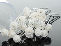 Wholesale hair clips resins - 100pcs White Flower Resin Crystal Wedding Bridal Party Hair Jewelry Hair Pins Bands Clips Hair Accessories [JH03009(20)*5]