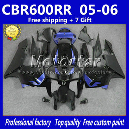 Wholesale Honda Racing Motorcycle - 7 Gifts black blue customize motorcycle fairings for HONDA CBR600RR F5 2005 2006 CBR 600 RR 05 06 injection molding race fairing bodykits M9