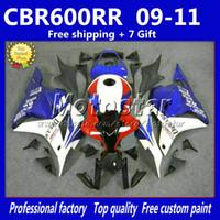 Wholesale abs race fairings online - 7Gifts injection white blue black fairings for HONDA CBR600RR F5 racing fairing kit CBR RR rf7