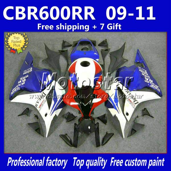 7Gifts injection white blue black fairings for HONDA CBR600RR F5 2009 2010 2011 racing fairing kit CBR 600 RR 09 10 11 rf7