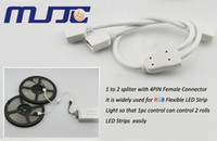 Wholesale Connectors Distributors - 5PCS White Black Male Female 4PIN RGB LED Strip Connectors Controller Spliter Divider Distributors Cable easy connection