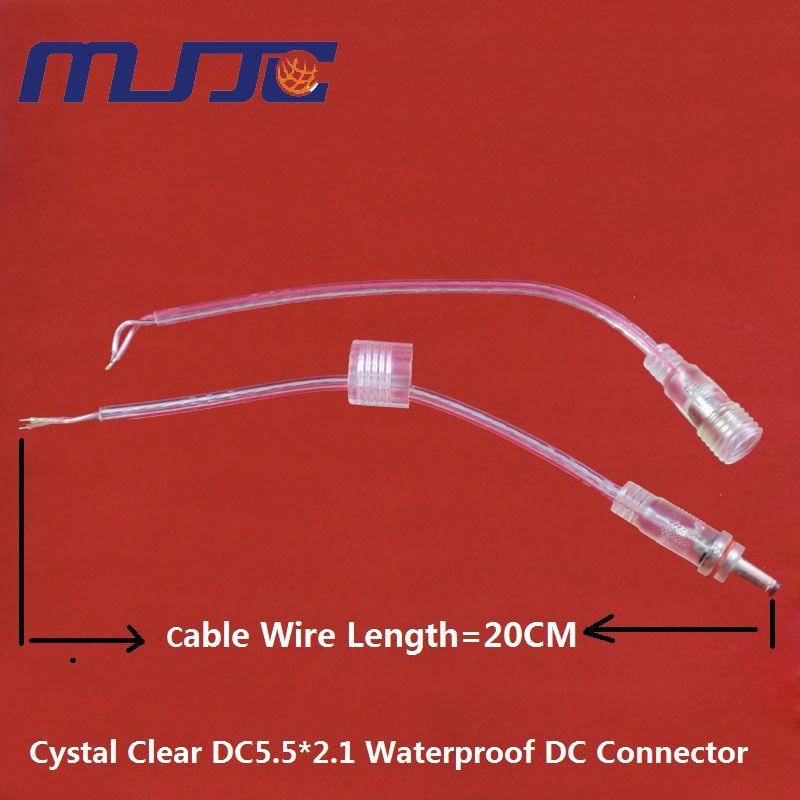 5 Pares macho a Hembra DC 5.5X2.1mm Impermeable Cystal Claro Cable de Conector para Cable de Un Solo Color 3528 5050 LED Strip Light