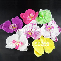 Wholesale Orchid Accessories - 8Color Wholesale 14pcs lot Orchid Flowers with Hair Clips Girls Head Flower for Crochet headband Kid's Hair Accessories