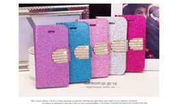 Wholesale Iphone4 Leather Cases - New diamond leather case for iphone 5 5C 5S samsung S4 S3 iphone4 4S NOTE 3 flip cover with card holders 1pcs lot free shipping