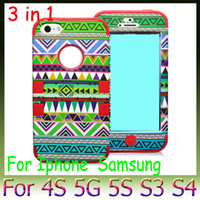 Wholesale Aztec Tribal S4 - Aztec Tribal Pattern PC + Silicone Shockproof Case 3 in 1 Hybrid Impact Rugged Robot Hard Soft Cover for iphone5 5S Samsung S4