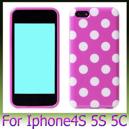 Wholesale Iphone4 Cover Bling - Wholesale - Colorful Candy Polka dots Dot Bling Glossy skin Soft TPU Gel Silicone back cover for iphone4 4S iphone 5 5G 5S 5C 20PCS
