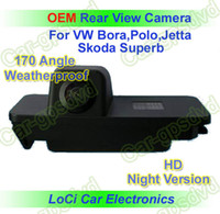 Wholesale Auto Reverse Rear View Camera - Free shipping! HD Rear View VW GOLF 4,5,6 EOS PASSAT CC CCD night vision car reverse camera auto license plate light camera