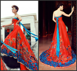 Wholesale Chinese Sexy Traditional Dress - In Stock Elegant Chinese traditional style column sweep train Evening Dresses Appliques Peacock Classic Prom Dresses Gowns
